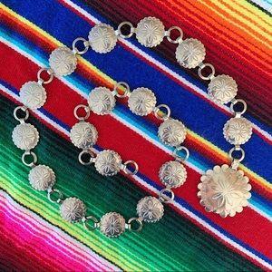 Vintage silver tone chain concho belt